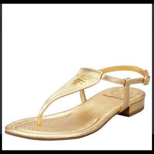 Tory Burch Britton Flat Thong Sandal Gold 8.5